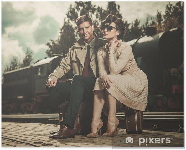 Plakat Rocznik para na peronie pociąg - Akcesoria