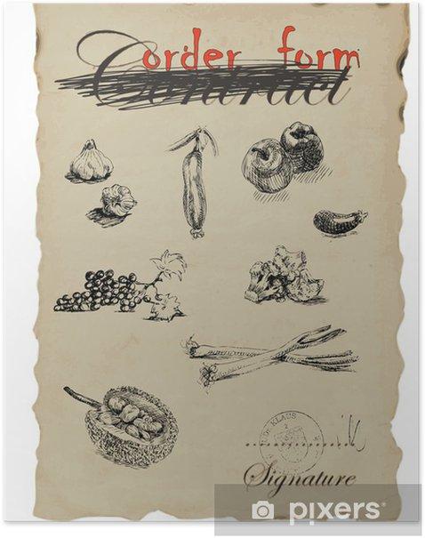 Plakat Rocznika obrazu - rysunek odręczny, wektor - Owoce i warzywa - Dom i ogród
