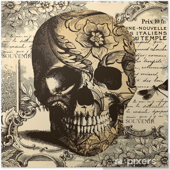 Plakat Rocznika tle czaszki - Style
