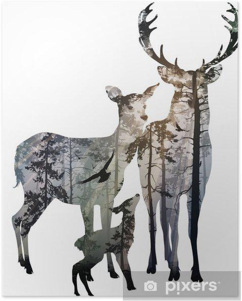 Plakat Rodziny jeleniowatych - Zwierzęta