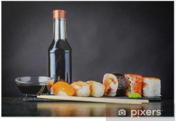 Plakat Rolls Sushi z sosem sojowym - Jedzenie
