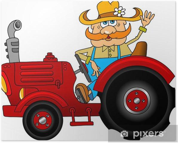 Plakat Rolnik i czerwony ciągnik - Naklejki na ścianę