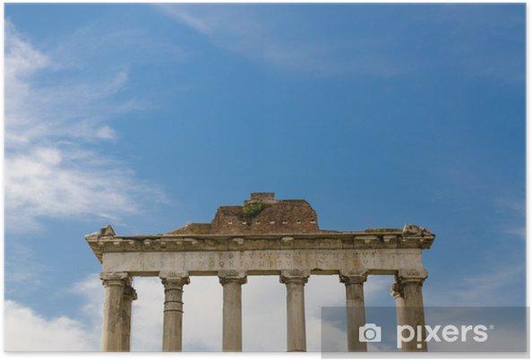 Plakat Roman kolumny, Rzym, Włochy - Miasta europejskie