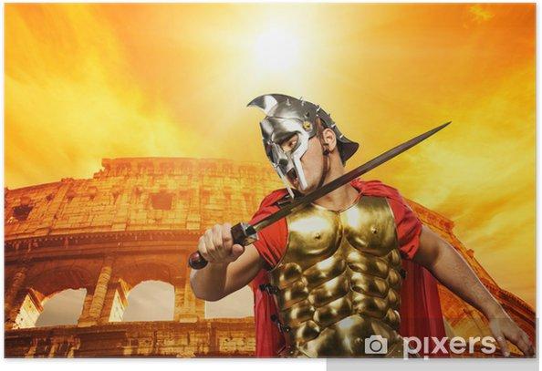 Plakat Roman legionista żołnierz przed koloseum - Tematy