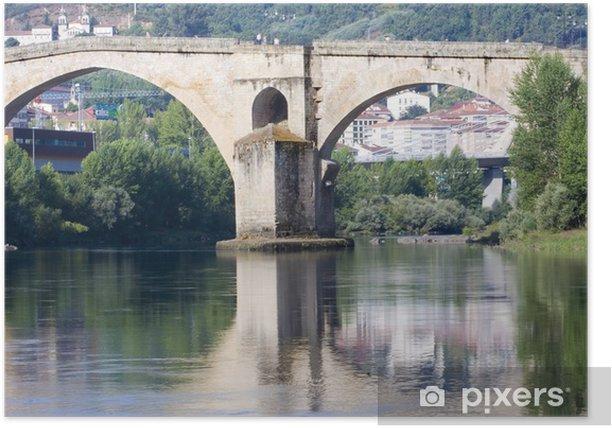 Plakat Roman most, Orense, Galicja, Hiszpania - Pejzaż miejski