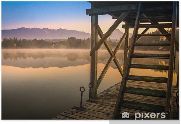 Plakát Romantische Stimmung frühmorgens am See - Voda