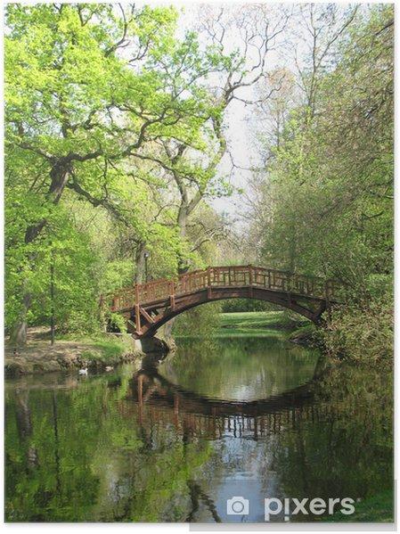 Plakat Romantyczny most w zielone - Woda