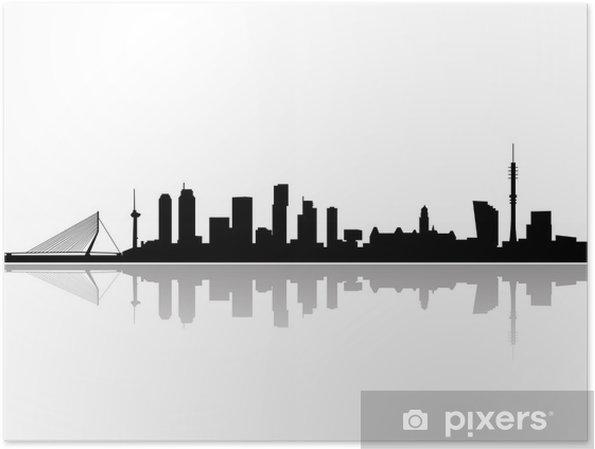 Plakat Rotterdam city skyline wektor - Naklejki na ścianę