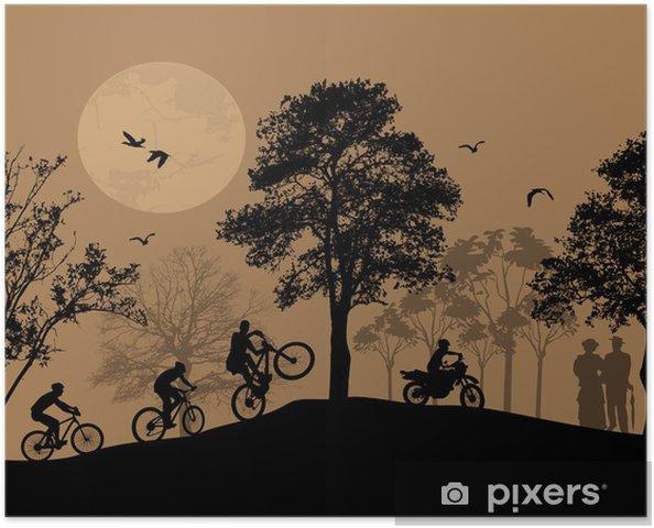 Plakat Rowerzyści sylwetki na piękny krajobraz - Tła