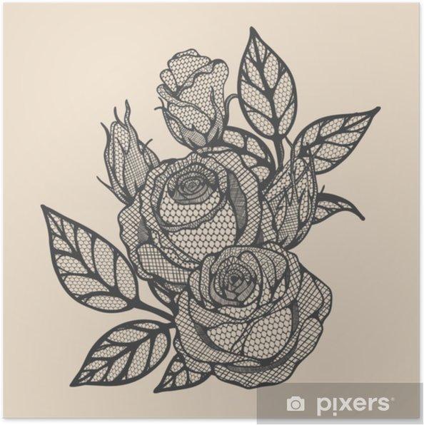 Plakat Róża Wektor Koronki Ręcznie Rysunek Piękny Kwiat Na Brązowym Tle Koronki Koronki Sztuka Bardzo Szczegółowe W Stylu Sztuki Lineflower Tatuaż