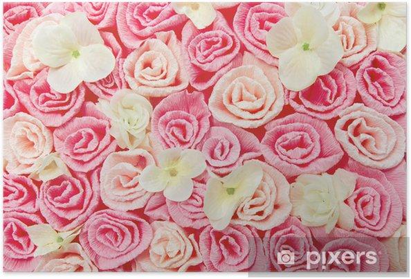 Plakat Róże kwiat tło wzór. różowy kwiatowy tekstury. - Tekstury