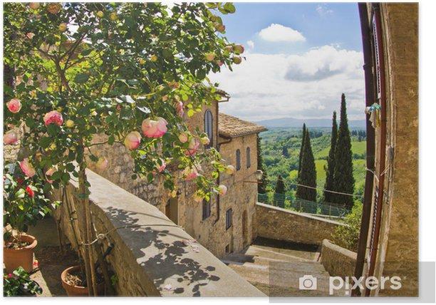 Plakat Róże na balkonie w San Gimignano, Toskania krajobraz w tle - Tematy