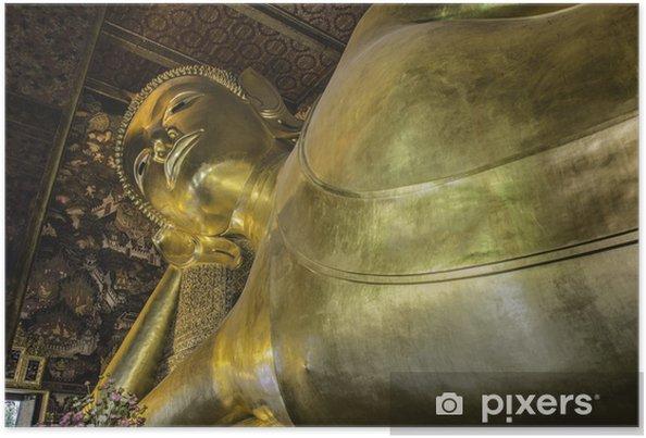 Plakat Rozkładane posąg Buddy, Wat Pho złoto, Bangkok, Tajlandia. - Budynki użyteczności publicznej