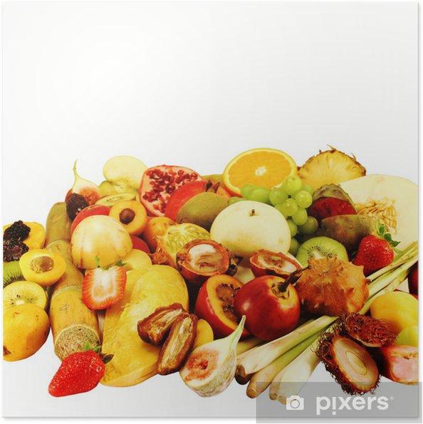 Plakát Rozmanité exotische Früchte aufgeschnitten - Jídla