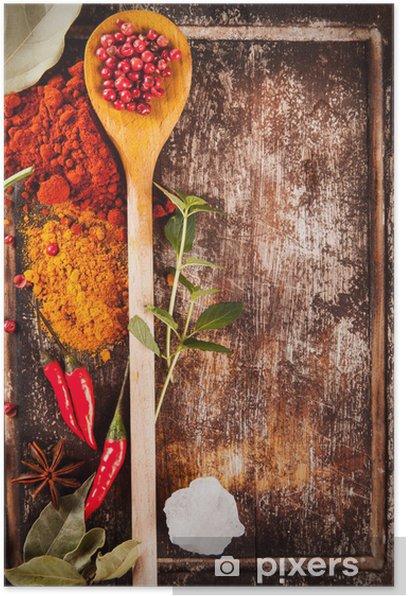 Plakat Różne przyprawy na drewno - Przyprawy i zioła