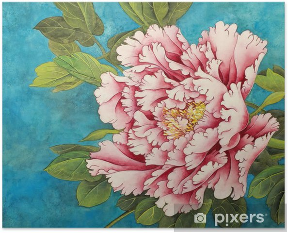 Plakat Różowa piwonia na niebieskim tle - Rośliny i kwiaty