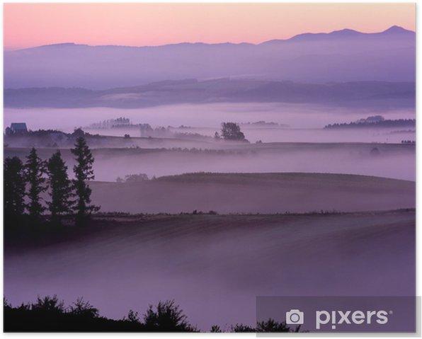 Plakat Różowy rano mgły - Pory roku
