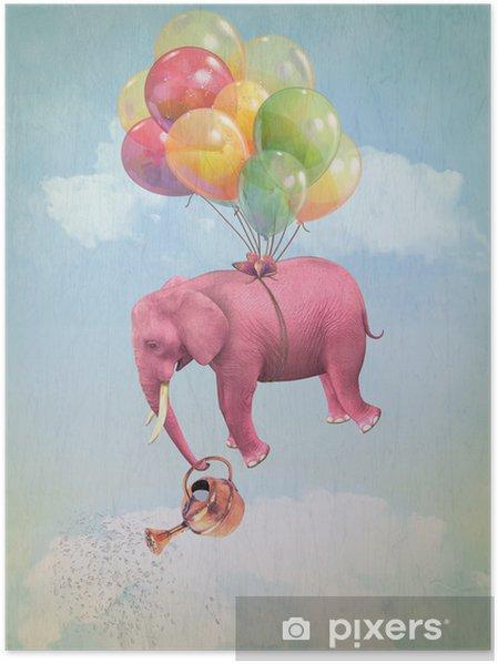 Plakat Różowy słoń w niebo z konewką. Ilustracja - Przeznaczenia
