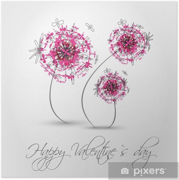 Plakat Różowy valentine dmuchawiec - Święta międzynarodowe