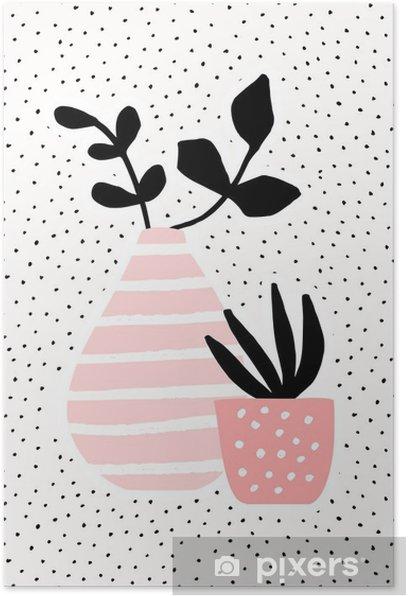Plakat Różowy wazon i pot z roślinami - Rośliny i kwiaty
