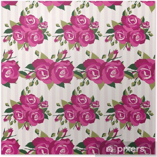Plakat Różowy wzór z róż kwiatostanu - Wolność