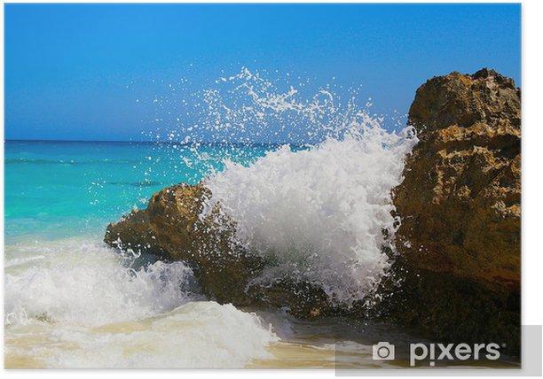 Plakat Rozpryskiwania wody na ocean (Bermuda) skałach - Woda