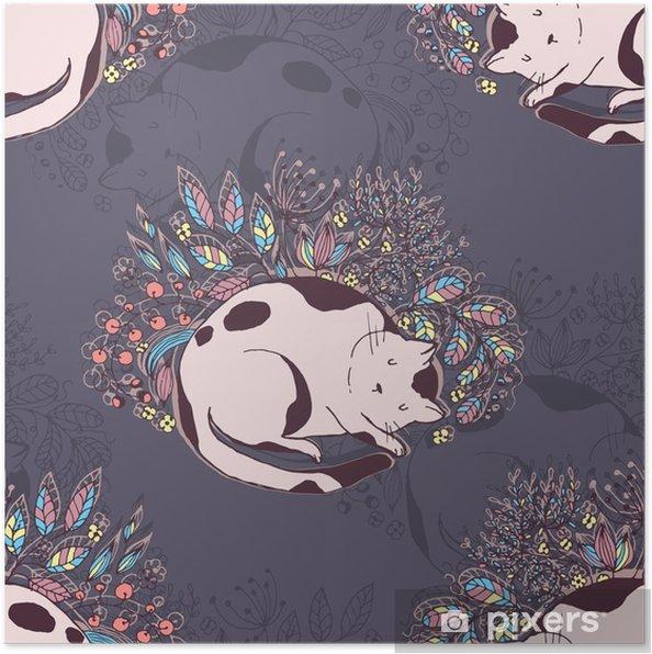 Plakat Roztomila Kocka Spi V Trave A Kvetiny Vektor Rucne Kresleny
