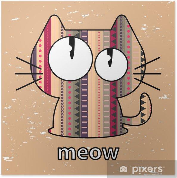 Plakát Roztomilé koťátko bezešvé textury ilustrace - Savci
