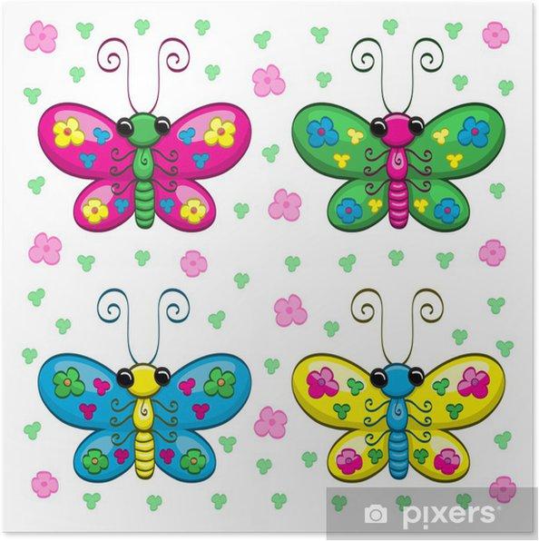 Plakat Roztomile Kreslene Motyli A Kvetiny Pixers Zijeme Pro Zmenu