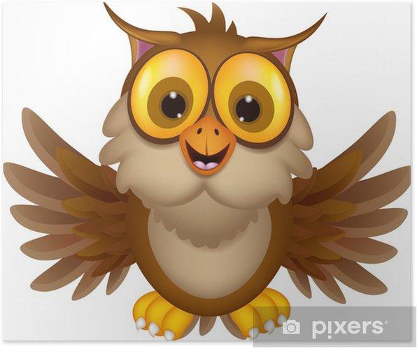 Plakát Roztomilý sova karikatura mává - Mezinárodní svátky