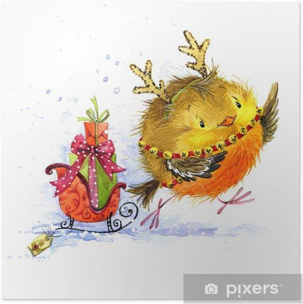 Plakat Roztomily Zimni Ptak Vanocni Pozdrav Novy Rok Akvarel Rucne