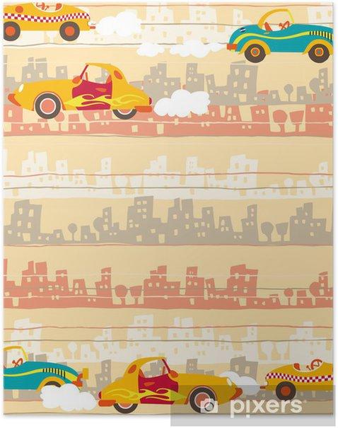 Plakat Ruch miejski, dzieci wzór samochody - Pejzaż miejski