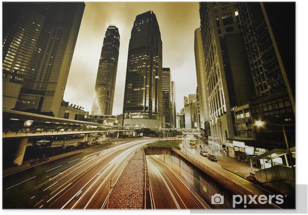 Plakat Ruch w Hongkongu w czasie zachodu słońca - Tematy