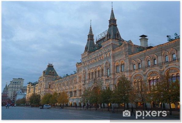 Plakát Rudé náměstí v Moskvě GUM ve večerním osvětlení - Město