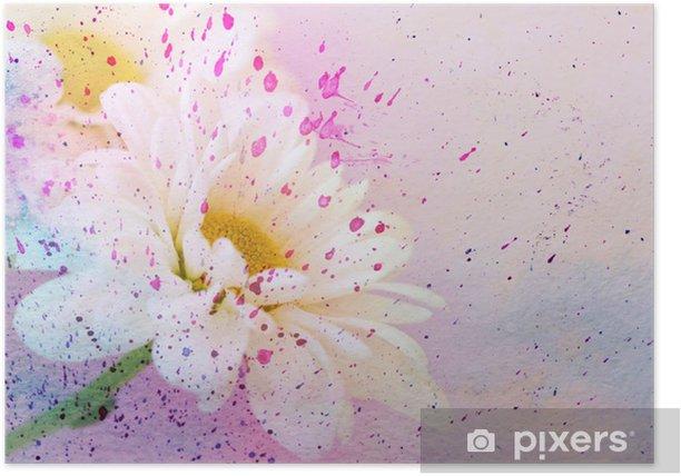 Plakat Rumianek na kwiat i splatter akwarela - Sztuka i twórczość