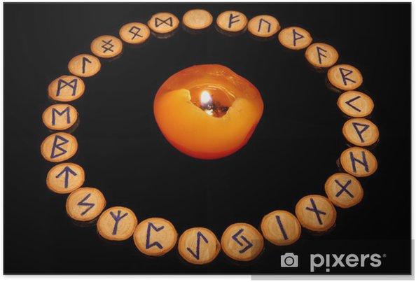 Plakat Runy z świeca - Ezoteryka