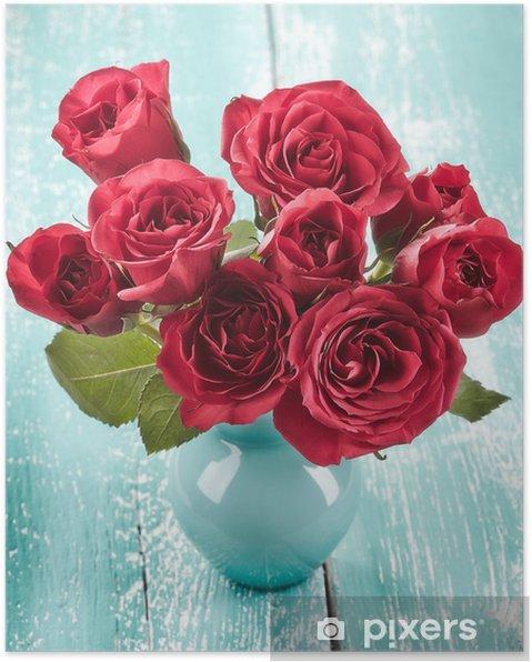 Plakát Růže ve váze - Květiny