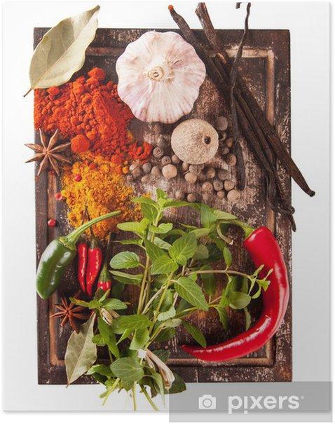 Plakát Různé koření izolovaných na bílém pozadí - Koření a bylinky