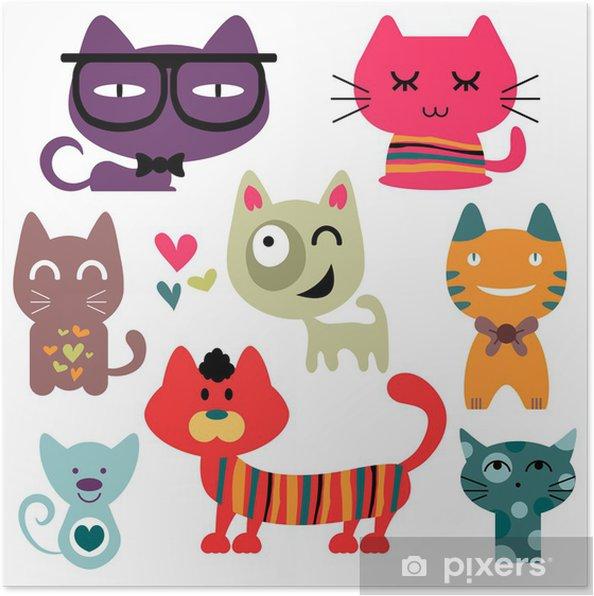 Plakát Různé vtipné kočky nastavit -