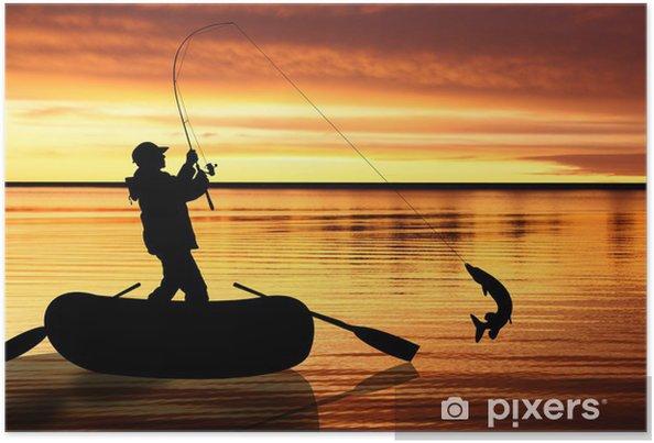 Plakát Rybáři v člunu při západu slunce - Outdoorové sporty