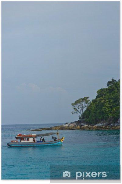 Plakát Rybářský člun a fishingman - Lodě