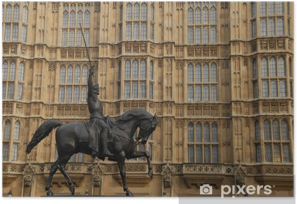Plakat Rycerz na koniu na zewnątrz gmachu Parlamentu - Europa