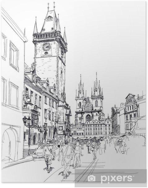 Plakat Rynek Starego Miasta, Praga, Czechy - szkic - Praga