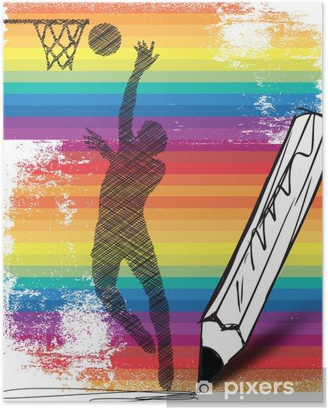 Plakat Rysunek koszykarza. Ilustracji wektorowych - Sporty indywidualne
