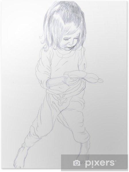 Plakat Rysunek Ołówkiem Dziecko Dziewczynka