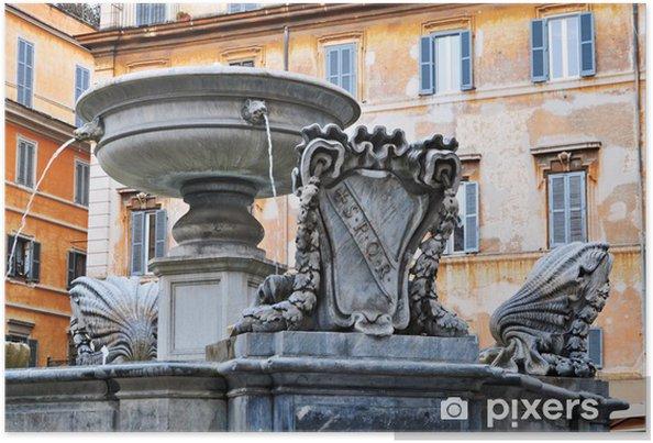 Plakat Rzym, fontanna na Piazza Santa Maria in Trastevere - Miasta europejskie