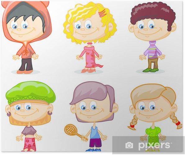 Plakat Sada Kresleny Deti Roztomile Pixers Zijeme Pro Zmenu