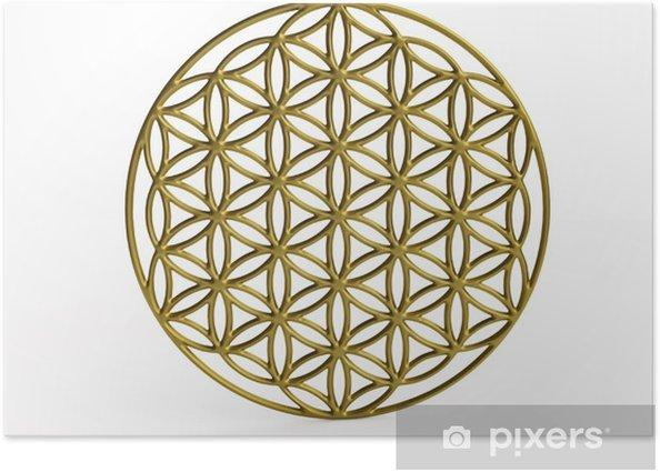 Plakat Sakralna Symbol Kwiat życia w 3D - Naklejki na ścianę