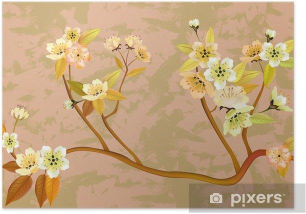 Plakat Sakura, wiosna, widokówki. - Pory roku