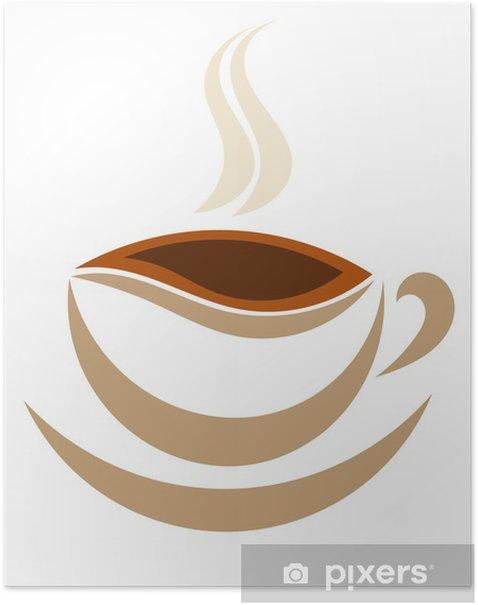 Plakát Šálek kávy symbol - Horké nápoje